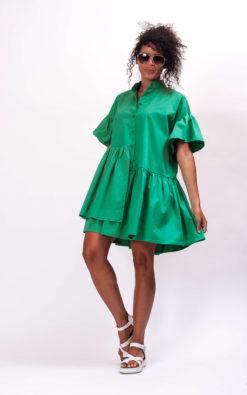 Green cotton mini dress, Cocktail dress cotton clothing for women, Plus size cotton dress, Green Party dress