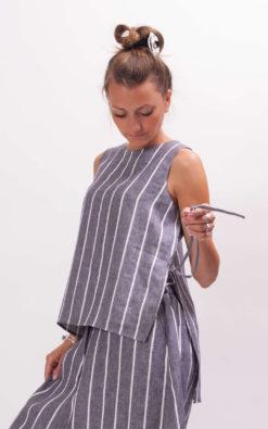 Stripe linen tank top plus size clothing, linen tunic organic clothing, Simple sleeveless linen tank top