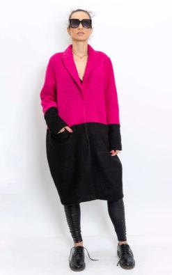 Winter oversized wool coat, Two-tone wool coat women