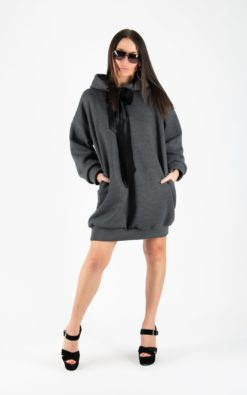 Tunic Dress For Women, Dark Grey Dress, Plus Size Clothing, Hooded Dress, Dark Grey Dress, Blouse Dress, Long Sleeve Dress
