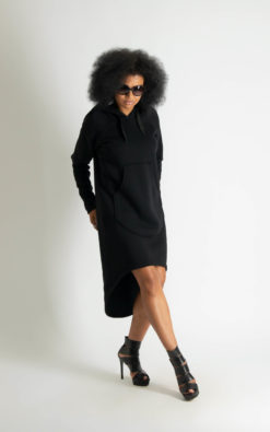 Hooded Black Dress, Winter Dress, Hoodie Dress, Grey Dress, Sweatshirt Dress, Hooded Sweatshirt, Winter Clothing