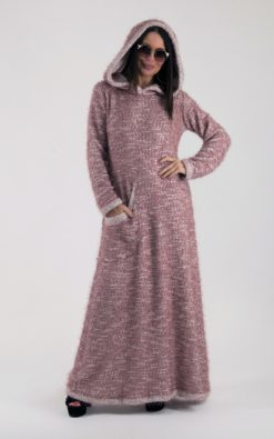 Hooded Dress, Winter Dress, Knitted Dress, Plus Size Clothing, Pink Dress, Maxi Dress For Women, Hooded Kaftan, Loose Knit Dress
