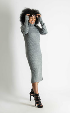 Knitted Turtleneck Dress/Long Dress/Cotton Dress/Extra Long Sleeve Dress
