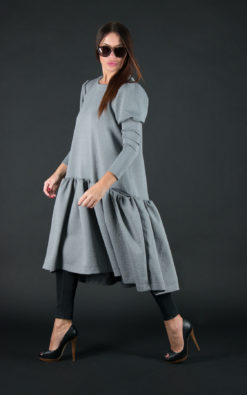 Clothing Winter dress/Grey Maxi Dress/Plus Size Dress/Dress for Women by EUG/