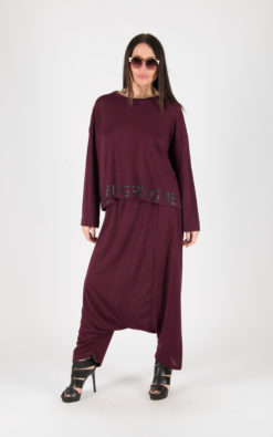 Harem Outfit, Winter Jumpsuit, Women Set, Wide Leg Pants, Plus Size Clothing, Wool Outfit, Winter Outfit, Dark Red Costume, Party