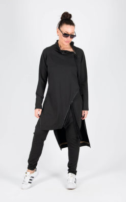 Trendy Black Terry Cotton tracksuit/ Autumn Winter Outfit/Wide Leg Pants/ Zipper Top/Long Sleeve Set