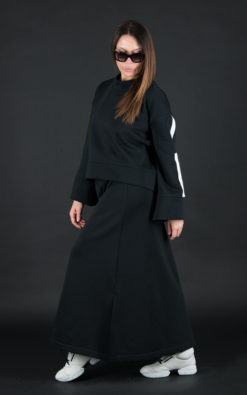 Black Sport Outfit/Loose Casual A line Skirt/Black Sweatshirt/Spring Tracksuit/Black Cotton