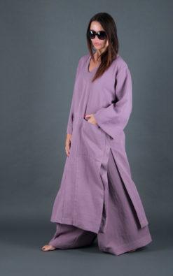 Cotton clothing for women/Natural Cotton Set for women/Wide cotton set/New Purple Summer set/Wide Cotton Pants/Long Loose Top
