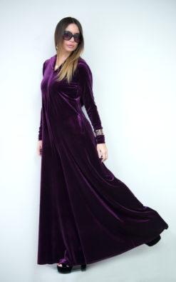 Purple Velvet Jumpsuit/Women jumpsuit/Velvet Hooded Union Suit/Loose Casual Drop Crotch jumpsuit for women