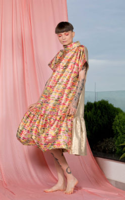 Avant Garde Gold Ruffle Maxi Dress, Puffy Dress, Cocktail Dress, A Line Dress, Loose Dress, Plus Size Clothing, Party Dress, Elegant Dress