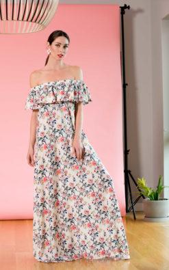 Off Shoulders Floral Bohemian Maxi Summer Dress / Plus Size Loose Fit Pregnancy Maternity Long Boho Dress