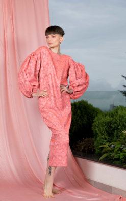 Pink Puffy Sleeve Dress, Elegant Dress, Neon Dress, Ruffle Dress, Wide Sleeve Dress, Formal Dress, Minimalist Dress, Bishop Sleeve Dress
