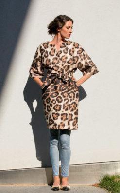 Women Coat, Animal Print Coat, Neoprene Coat, Extravagant Coat, Leopard Print Coat, Women Trench Coat, Belt Coat, Elegant Coat, Loose