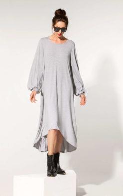 Asymmetrical Dress, Loungewear Dress, Grey Loose Dress, Oversized Clothing, Plus Sizes Dress, Bishop Sleeve Dress, Long Comfy Dress, Cozy