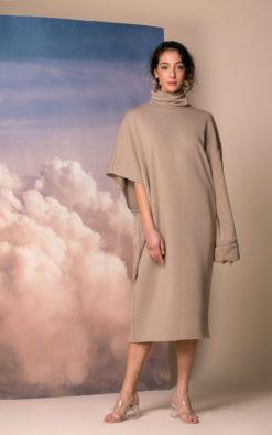 Mocha Oversized Sweater Dress, Extravagant Dress, Oversized Dress, Spring Dress, Plus Size Clothing, Turtleneck Dress, Avant Garde Dress