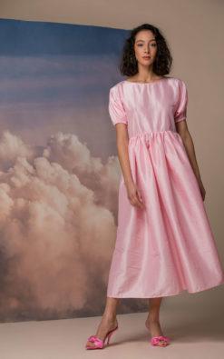 Taffeta Dress, Pink Maxi Dress, Puff Sleeve Dress, Summer Maxi Dress, Maternity Dress, Elegant Dress, Bridesmaid Dress, Vintage Style Dress