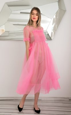 Villanelle Dress, Pink Tulle Dress, Avant Garde Clothing, Sheer Dress, Summer Party Dress, Cocktail Dress, Futuristic Clothing, See Through