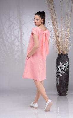 Linen Dress for Women Short Sleeve, Linen Knee-Length Dress, Wedding Boho Dress, Summer Linen Dress, A-line Linen Dress