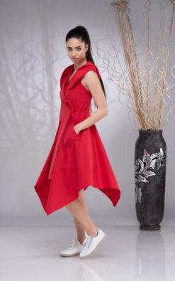 Wrap Linen Dress Women, Linen Hooded Dress Sleeveless, Asymmetrical Linen Dress, Elven Dress, Summer Red Dress
