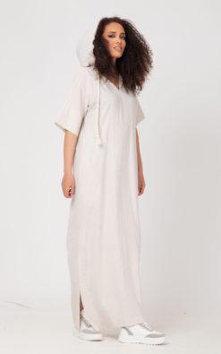 Linen Kaftan, Hooded Linen Caftan, Linen Dress, Linen Clothing / FEREZ /, Bohemian Linen Dress, Linen Sari, Linen Floor Dress, Linen Maxi