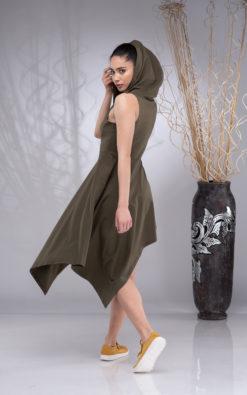 Hooded Dress for Women, Elven Dress, Goa Dress Women, Pixie Dress, Fairy Dress, Asymmetrical Dress, Cowl Hoodie Dress