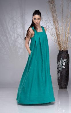 Linen Maxi Dress Women, Cross-back Linen Dress for Women, Linen Apron Dress, Boho Wedding Linen Dress