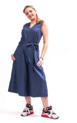 Denim wide leg jumpsuit womens, Denim jumpsuit with belt cotton clothing, Jumpsuit women organic clothing