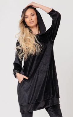 Women Black Sweatshirt Hoodie AMMIH, Hooded Hoodie Sweatshirt, Black Hoodie Sweatshirt, Summer Hoodie, Long Sweatshirt, Plus Size Clothing