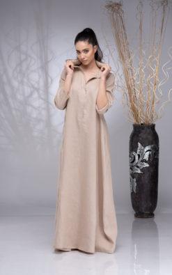 Linen Maxi Dress for Women, Linen Kaftan, Plus Size Linen Dress, Linen Hoodie Dress, Linen Abaya for Women, Summer Linen Dress