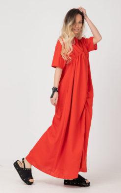 Coral Red Linen Dress, Linen ROYTA Kaftan Dress, Linen Clothing, Plus Size Linen Dress, Linen Oversize Dress, Plus Size Clothing, Adeptt