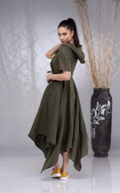 Long Wrap Linen Dress for Women, Hooded Linen Dress Women, Maxi Linen Dress, Asymmetrical Linen Hoodie Dress