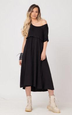 One Shoulder Women Black Dress TPANE In Plus Sizes, Black One Shoulder Dress, Black Home Party Dress, Plus Size Clothing, Black Midi Dress