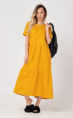 Mustard Linen Dress, Linen Summer LIDA Dress, Linen Clothing, Loose Linen Dress, Yellow Linen Dress, Sun Dress, Linen Kaftan, Beach Caftan