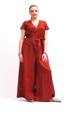 Linen jumpsuit women linen clothing women, Wrap jumpsuit womens Brick red wide leg jumpsuit, Brick red jumpsuit with belt organic clothing