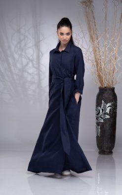 Linen Maxi Wrap Dress for Women, Button up Dress Linen, Boho Linen Dress Women, Linen Collar Dress, Linen Belt Dress