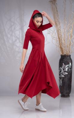 Maxi Hooded Dress for Women, Elven Dress, Pixie Hooded Dress, Fairy Dress, Asymmetrical Dress