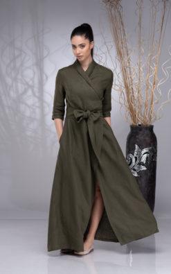Linen Dresses, Dress for Women, Linen Dress Women, Wrap Dress for Women, Wrap Linen Dress, Maxi Linen Dress, Long Wrap Dress, Shawl Collar Dress, Linen Belt Dress, Flare Linen Dress, Plus Size Dress, Linen Boho Dress, Summer Khaki Dress