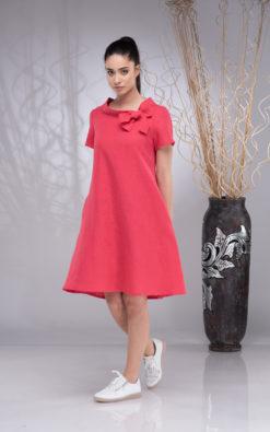Linen Dress for Women, Linen Wedding Dress, Knee-Length Dress, Linen Boho Dress Short Sleeve, Linen Summer Dress,