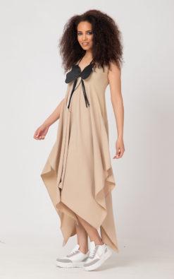 Summer Long Dress, Sleeveless Modern ROKYO Dress, Bohemian Chic Dress, Beige Kaftan, Plus Size Clothing, Asymmetric Dress, Plus Size Dress