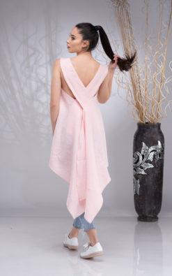 Linen Tunic Tops for Women, Pink Linen Sleeveless Top, Linen Asymmetrical Tunic, Sexy Linen Top, Linen Apron Dress