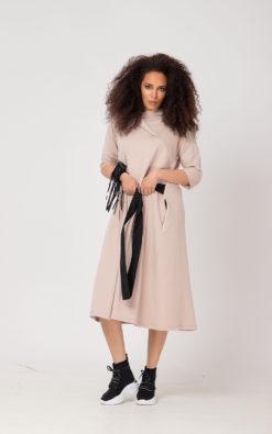Sweatshirt Midi Dress With Belt (1)