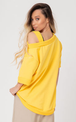 Asymmetrical sweatshirt with off-the-shoulder strap: / NITTA /