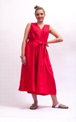 Red linen jumpsuit with belt organic clothing, Linen jumpsuit women linen clothing women, Red wide leg jumpsuit womens