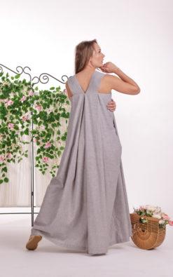 Apron Linen Dress, Loose Maxi Dress, Linen Clothing For Women, Plus Size Linen, Maternity Dress, Linen Long Dress, Pinafore Dress, Summer