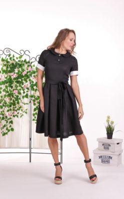 Linen Modest Dress, Black Prairie Dress, Retro Dress, Linen Clothing, Short Sleeve Dress, Plus Size Linen, Peasant Dress, Vintage Style