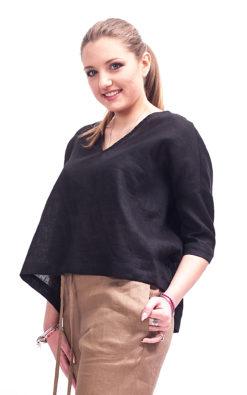 Black linen cropped front top linen clothing for women, Linen blouse women short sleeve, Womens linen top