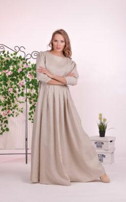 Linen Beige Dress, Empire Waist Dress, Linen Maxi Dress, Pocket Dress, Linen Clothing, Plus Size Dress, Elegant Dress, Linen Pleated Dress