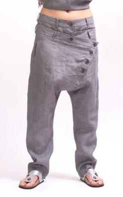 Gray harem pants women, Loose fitting pants avant garde clothing for women, Gray pants for women, Capri harem womens pants