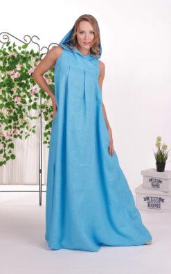 Hooded Dress, Blue Linen Dress, Summer Kaftan Dress, Linen Clothing, Pocket Dress, Plus Size Linen, Loose Maternity Dress, Sleeveless Dress