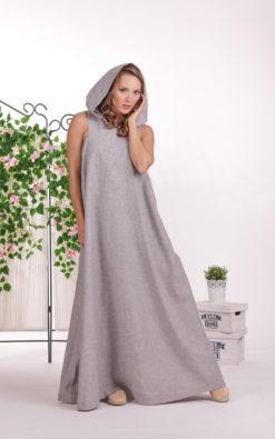 Linen Maxi Dress, Hooded Dress, Linen Clothing, Plus Size Linen, Sleeveless Dress, Linen Long Dress, Floor Length Dress, Plus Size Dress